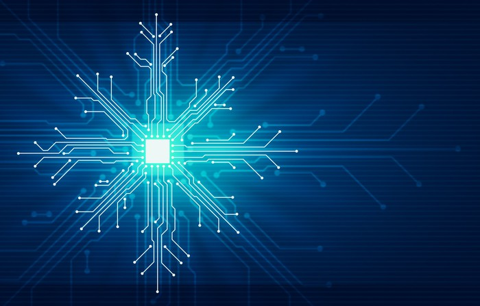 Electronic circuits arranged in the shape of a snowflake.