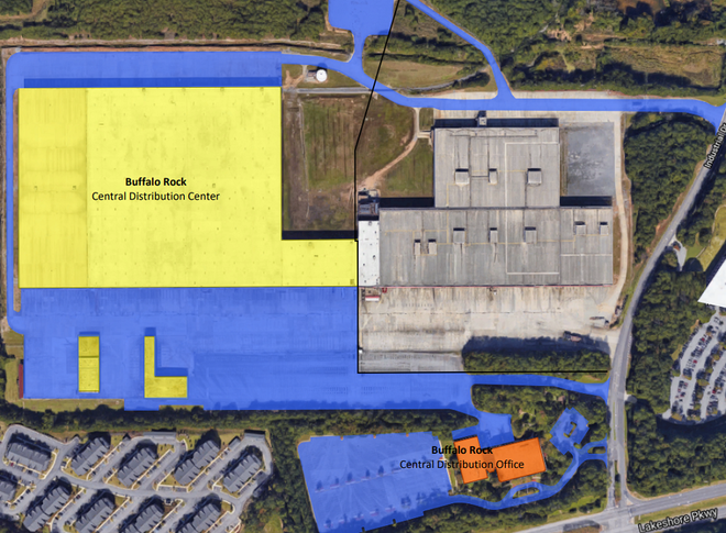 Aerial Satellite image of a large warehouse