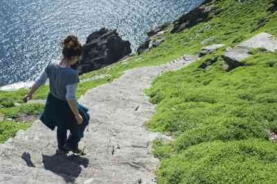 Hikers are drawn to Skellig Michael