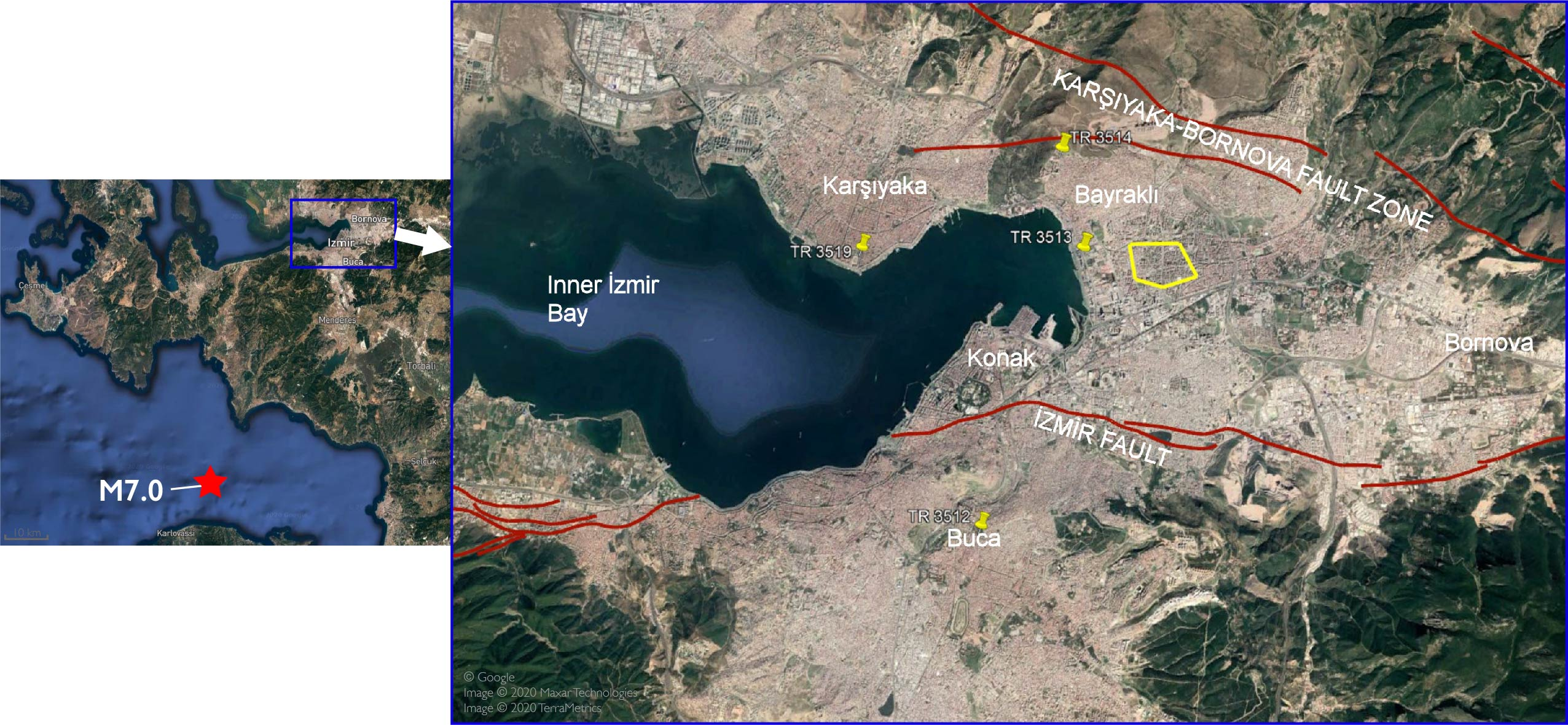 Map of eastern Aegean with locations of stations around indicated.
