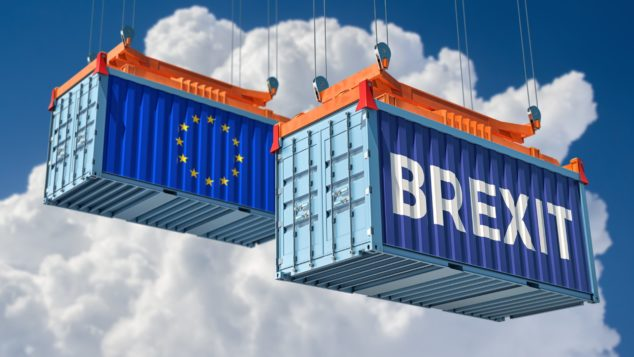 Freight containers with EU flag and Brexit legend, Brexit imports concept