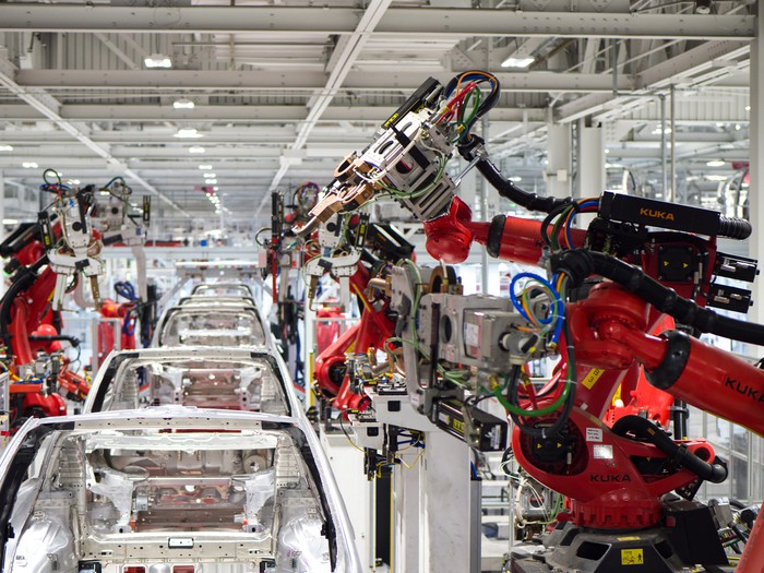 Vehicle production at a Tesla factory.