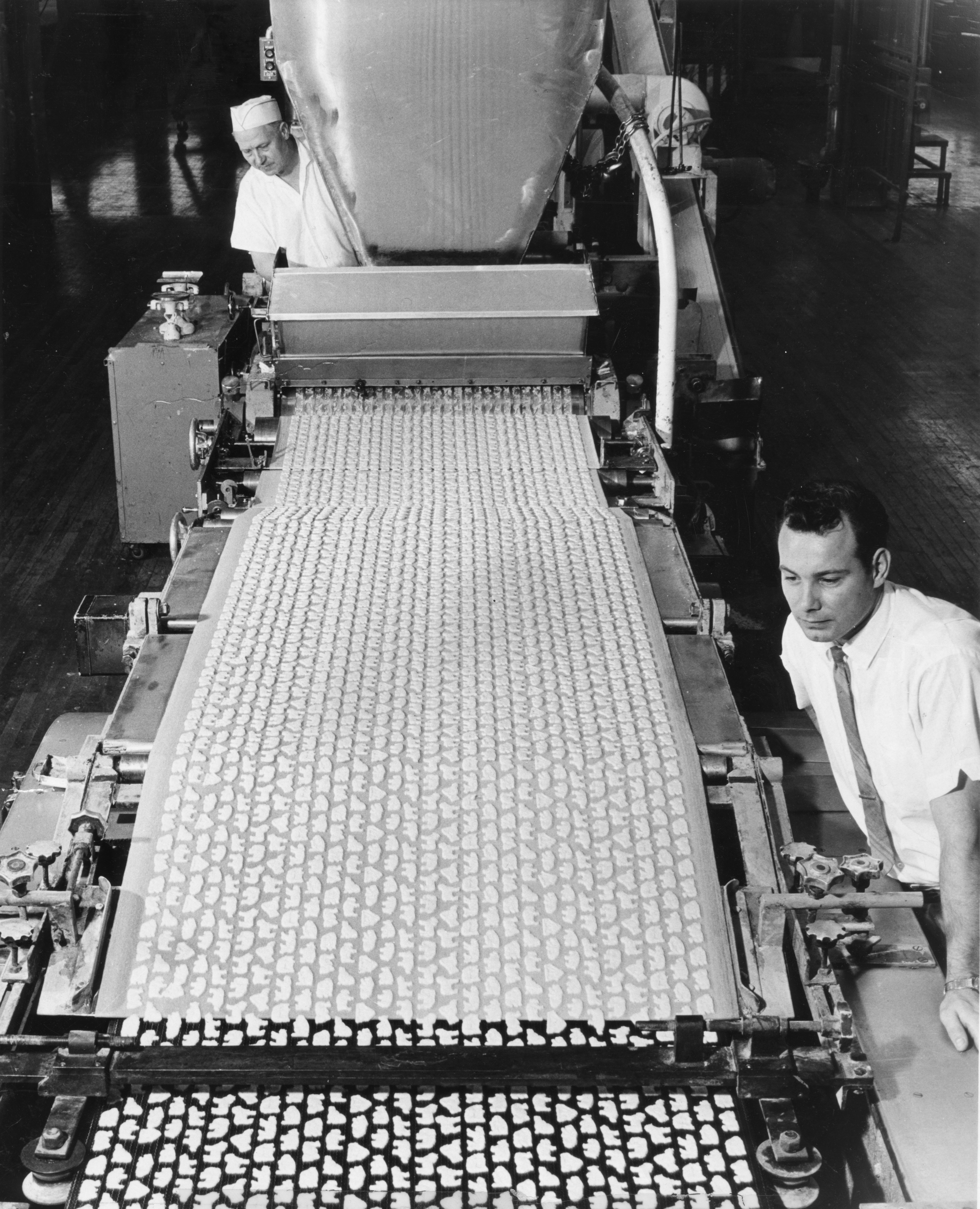 Rows of animals start out as cookie-cutter dough on a four-block ride at the Nabisco plant in Fair Lawn, N.J., on May 4, 1969. They will emerge as Barnum's Animal Crackers.