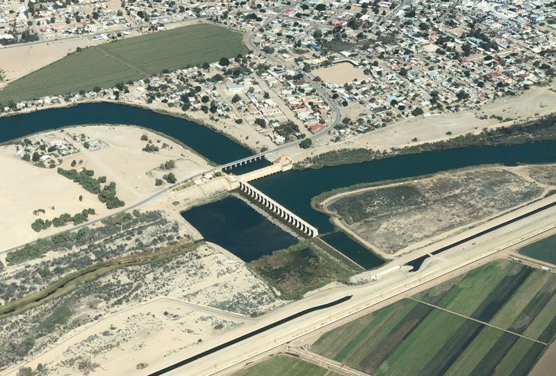 Aerial view of the Morelos Dam on the Colorado River near Yuma, Ariz.