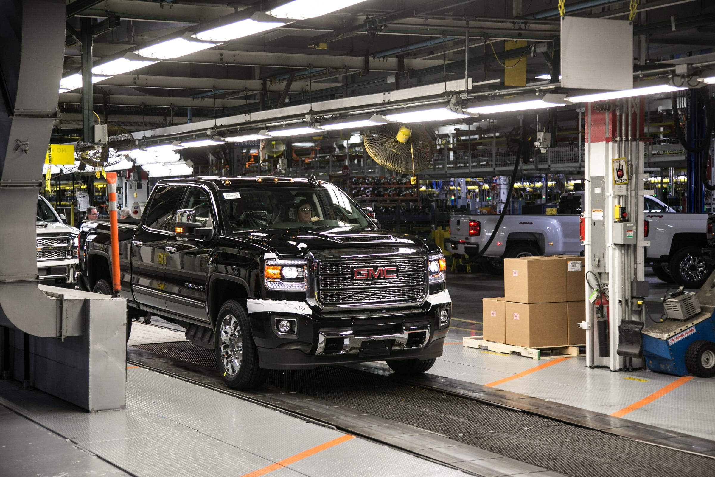 A GMC Denali HD pulls out for final testing at the General Assembly building at General Motors Flint Assembly in Flint on Tuesday, February 5, 2019.