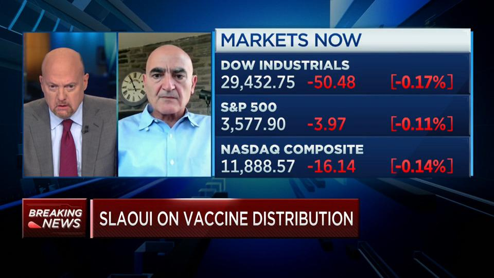During CNBC's Squawk on The Street, Jim Cramer discusses COVID vaccine distribution with OWS' Moncef Slaoui