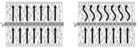 Logic barrier operation with the correct key (left) and the incorrect key (right).