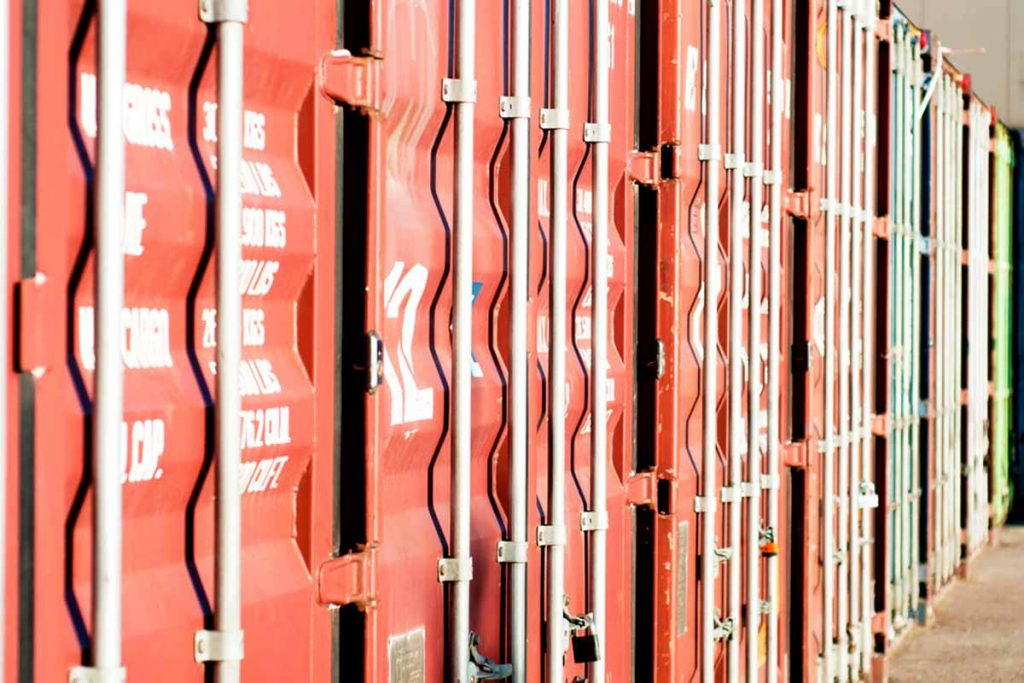 Cargo shipping containers.