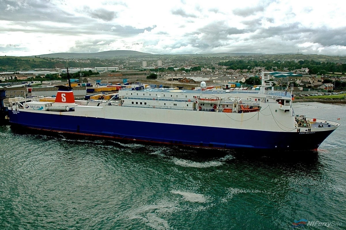 Finished cargo and ready for the off, STENA SEAFARER makes ready for departure from Larne to Fleetwood in August 2008. Copyright © Gordon Hislip.