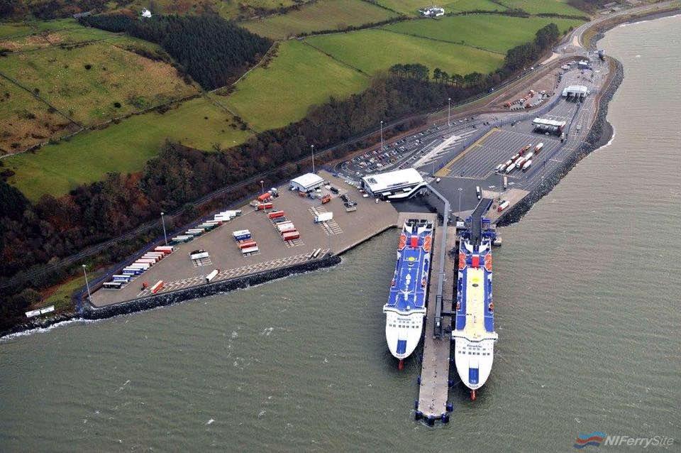 STENA SUPERFAST VII and STENA SUPERFAST VIII at the then brand-new Loch Ryan Port terminal, prior to their entry into service. Stena Line
