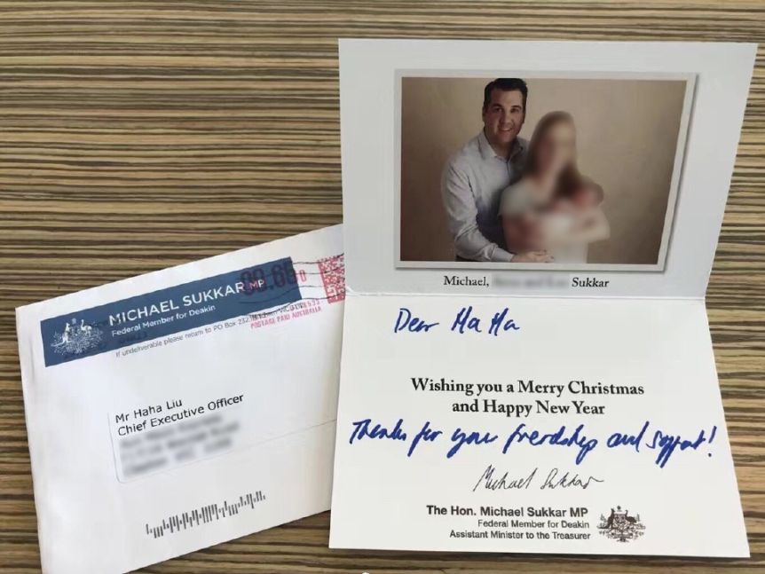 Haha Liu received a Christmas card from Liberal MP Michael Sukkar.