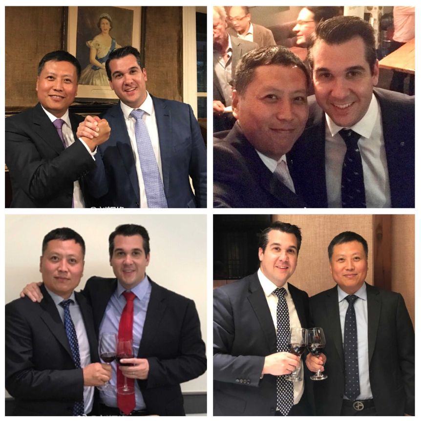 Haha Liu and Michael Sukkar pictured at various events and Liberal Party fundraisers between 2016 and 2018.