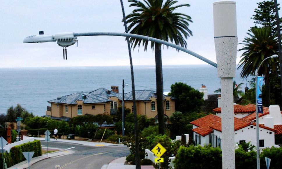 Smart streetlights with nodes installed in San Diego.