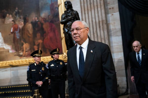 Former Secretary of State Colin Powell on Capitol Hill in 2018.