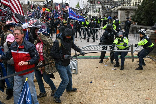 A pro-Trump mob clashed with Capitol police officers in Washington on Wednesday.