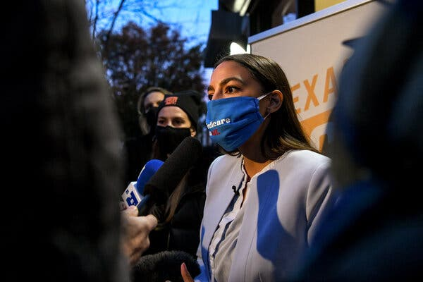 """Representative Alexandria Ocasio-Cortez of New York is the latest House Democrat to suggest invoking Section 3 of the 14th Amendment, which disqualifies elected officials who """"have engaged in insurrection or rebellion"""" against the United States."""