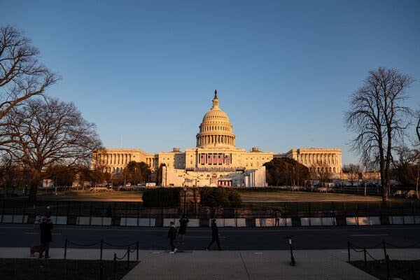 The inauguration stage taking shape at the Capitol this week.