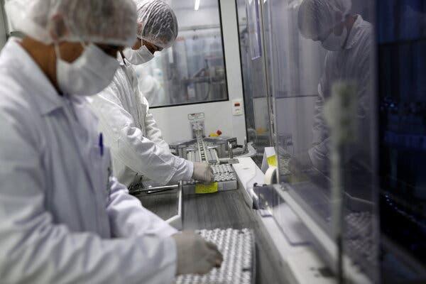 Vials containing CoronaVac, Sinovac Biotech's vaccine against Covid-19, at the Butantan biomedical production center in São Paulo, Brazil, on Tuesday.