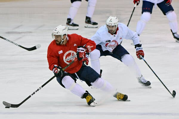 Alex Ovechkin of the Washington Capitals, foreground, at a practice in Arlington, Va., on Tuesday.
