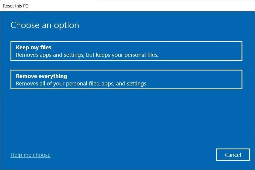 Windows 10 Reset this PC feature