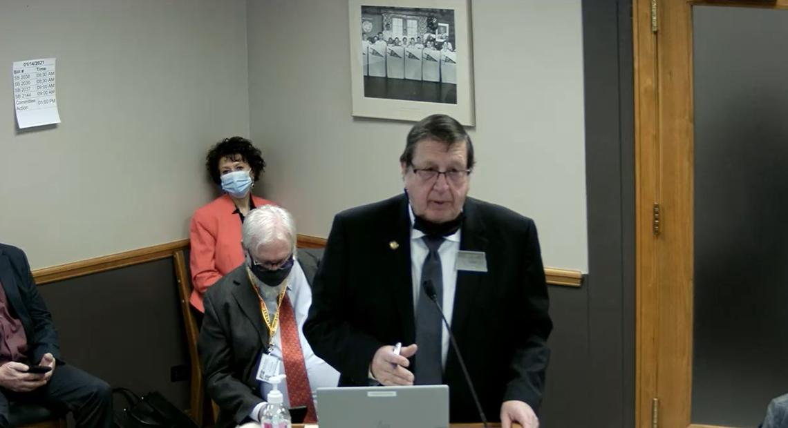Sen. Robert Erbele, R-Lehr, presented four bills related to North Dakota's trespassing laws to the Senate Energy and Natural Resources committee on Jan. 14, 2021, in Bismarck, N.D. (Screenshot of North Dakota Legislature committee)