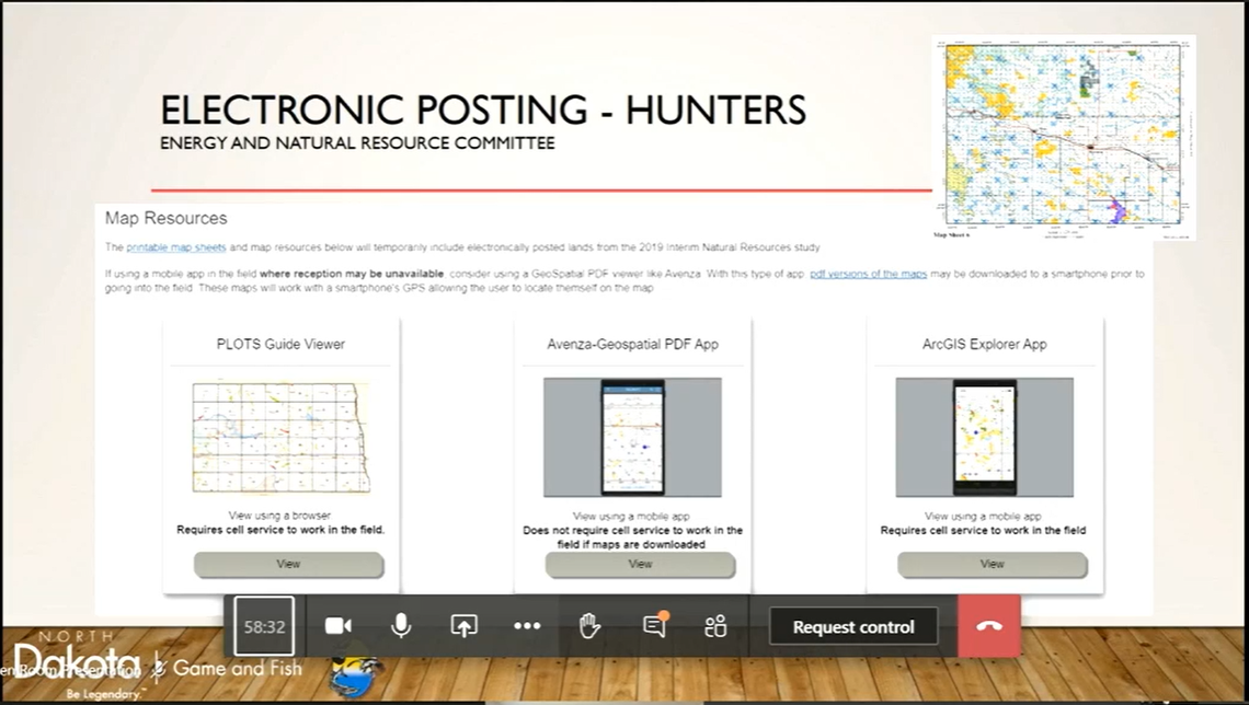 An electronic posting system created by the North Dakota Department of Game and Fish allows several options for learning about whether land is open to hunting and fishing. (Screenshot of North Dakota Legislature hearing)