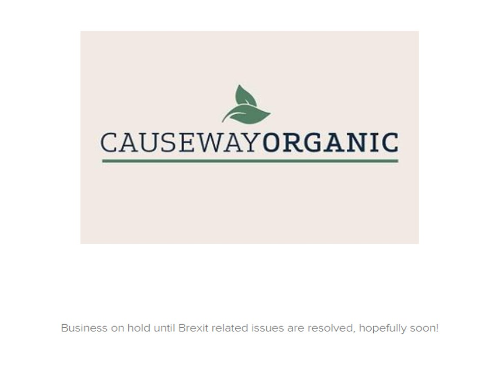Causeway Organic homepage after business was suspended