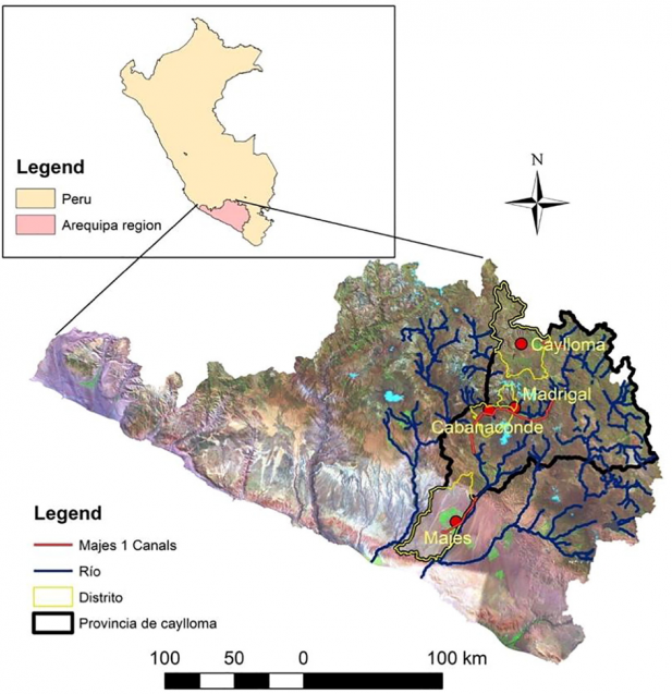 Map of the four sites where the interviews took place in the Caylloma Province of Peru