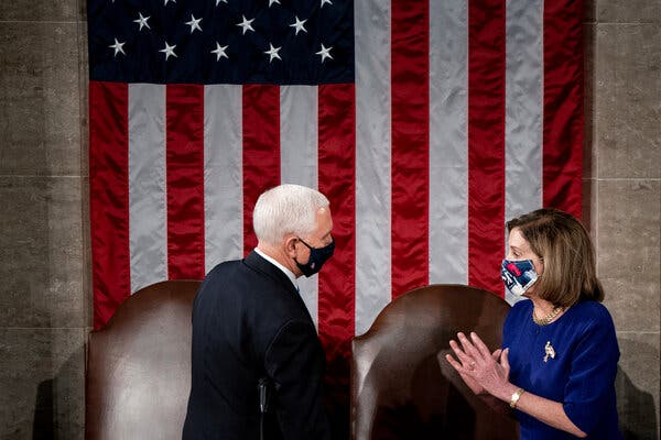 Vice President Mike Pence, left, and House Speaker Nancy Pelosi during the joint session of Congress to certify the Electoral College votes on Capitol Hill last week.