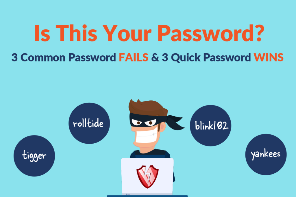 Is This Your Password? Protect your access points from insider threats with Passly to reduce outbound data breach risk represented by a cartoon burglar with a laptop