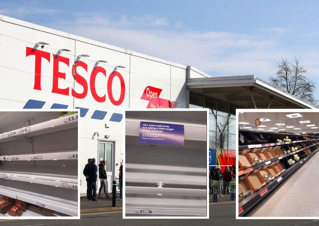 Empty shelves at Tesco (left and centre inset) and Sainsbury's (right inset) yesterday afternoon in Belfast