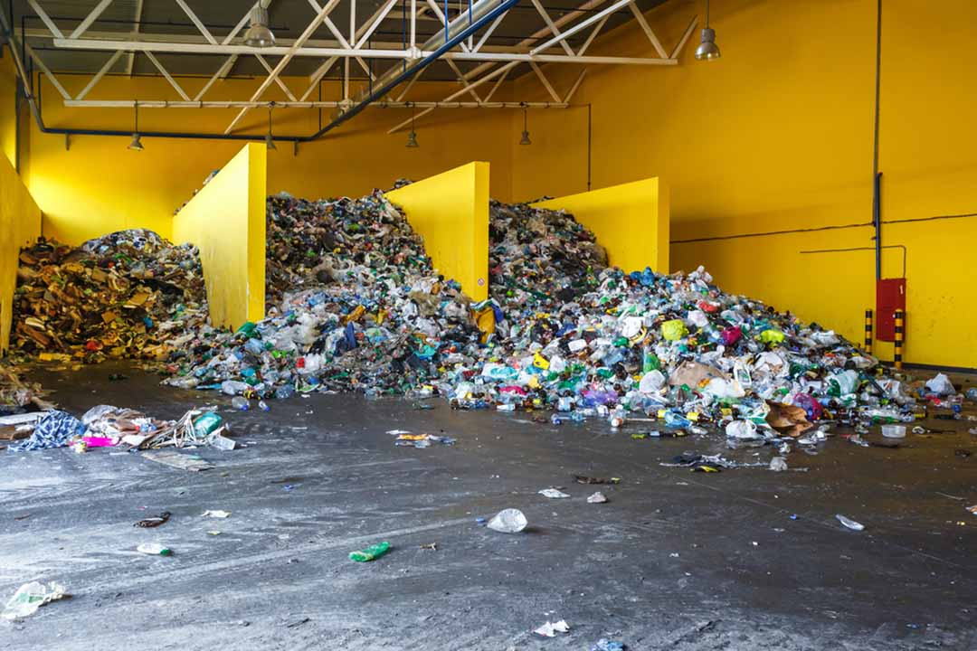Sorted plastics at a recycling facility.