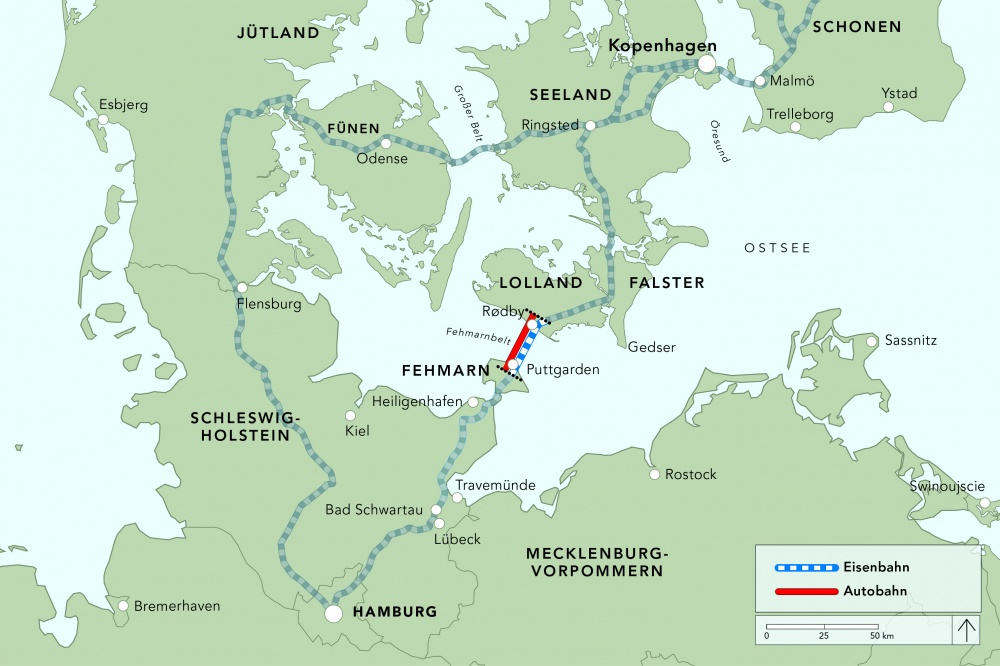Fehmarnbelt tunnel on the map,connecting Germany to Denmark