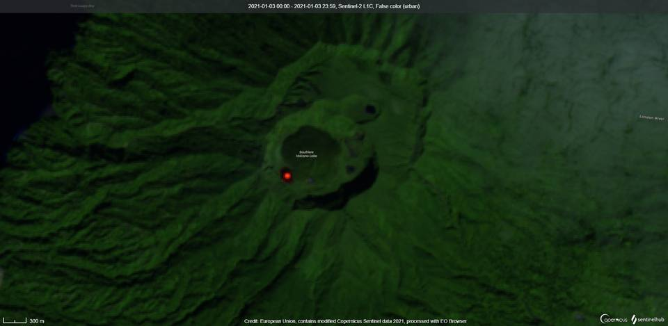 Actively growing lava dome associated with elevated surface temperature visible from space (image: Sentinel 2)