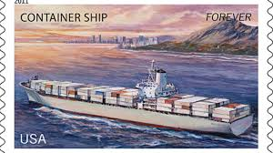 A Matson container ship is pictured on this U.S. stamp. (Image: USPS)