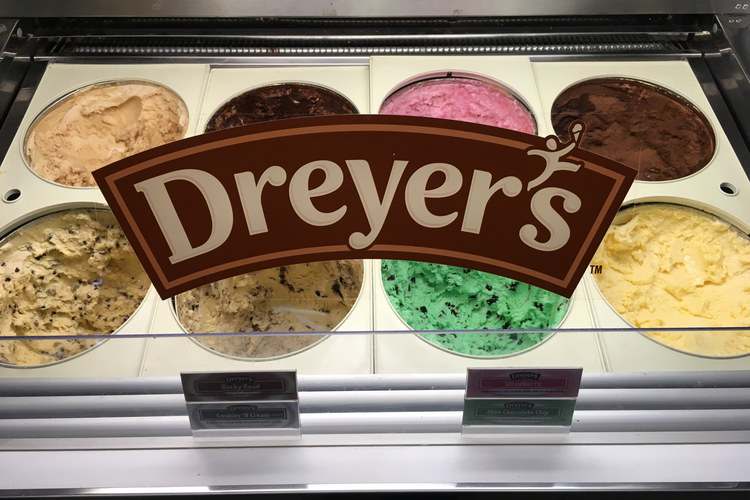 Multiple flavors of Dreyer's Ice Cream in-store and ready to scoop