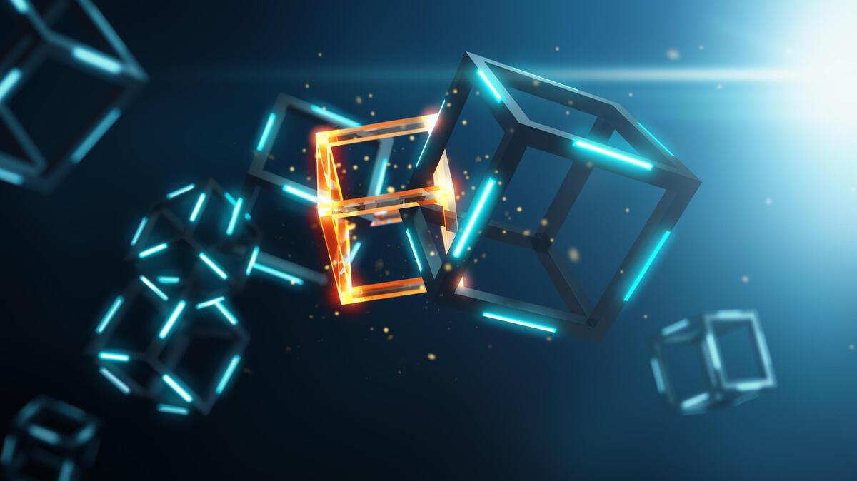 Blockchain technology on blue background